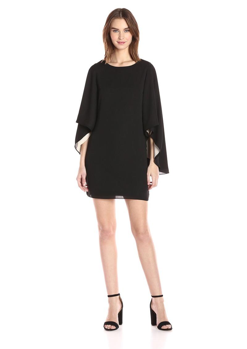 Halston Heritage Women's Flowy Sleeve Round Neck Color Blocked Dress Black/Champagne