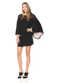 Halston Heritage Women's Flowy Sleeve Sheer Yoke Color Blocked Dress