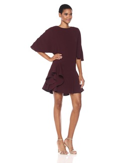 HALSTON HERITAGE Women's Flowy Wide Sleeve Round Neck Dress with Ruffle Skirt  S