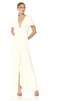 Halston Heritage Women's Flutter Short Sleeve Deep V Wrap Jersey Gown  Extra Large