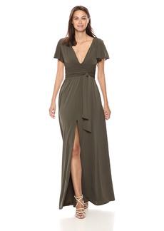 Halston Heritage Women's Flutter Short Sleeve Deep V Wrap Jersey Gown sage Extra Large