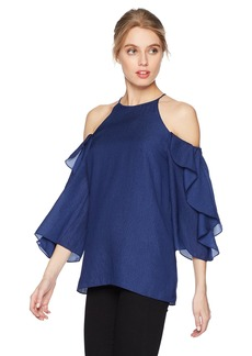 HALSTON HERITAGE Women's Flutter Sleeve Cold Shoulder High Neck Top