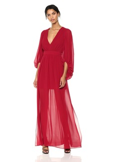 Halston Heritage Women's Full Sleeve V Neck Plisse Fortuny Dress