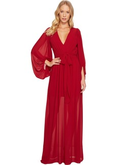 Halston Heritage Women's Full Sleeve V Neck Plisse Fortuny Dress