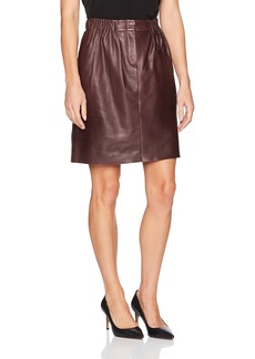 Halston Heritage Women's Gathered Leather Skirt