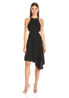 HALSTON HERITAGE Women's Halter Dress with Back Cut Out and Chain Piping