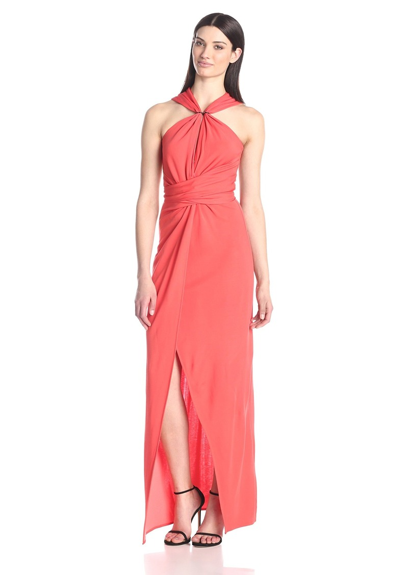 HALSTON HERITAGE Women's Halter Evening Dress with Keyhole Neck