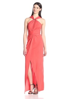 HALSTON HERITAGE Women's Halter Evening Gown with Keyhole Neck