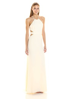 Halston Heritage Women's Halter Neck Crepe Gown with Cut Outs