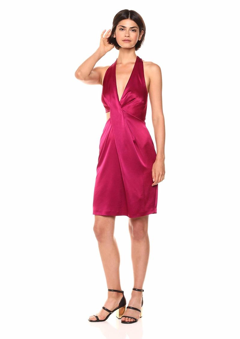 Halston Heritage Women's Halter Neck Cut Out Satin Dress