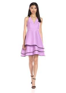 HALSTON HERITAGE Women's Halter Neck Dress with Layered Skirt