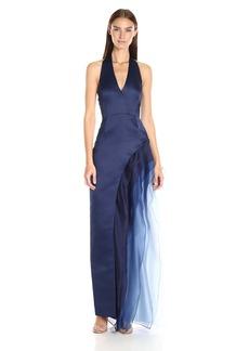 HALSTON HERITAGE Women's Halter Neck Gown with Tiered Skirt