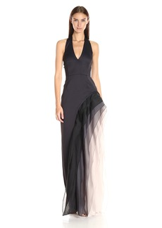 Halston Heritage Women's Halter Neck Gown with Tiered Skirt