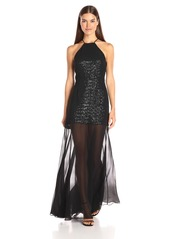 Halston Heritage Women's Halter Neck Sequin Hi-Low Dress