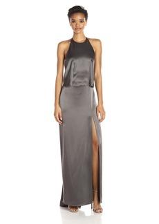 HALSTON HERITAGE Women's Halter Neck Slip Dress with Low Back