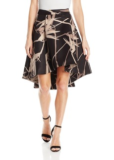 Halston Heritage Women's Hi-Lo Printed Structure Skirt