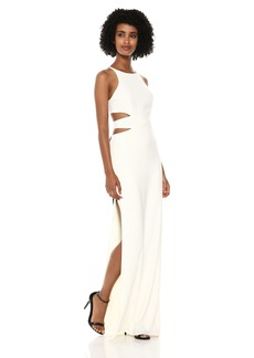 Halston Heritage Women's High Neck Tie Back Gown with Cut Outs