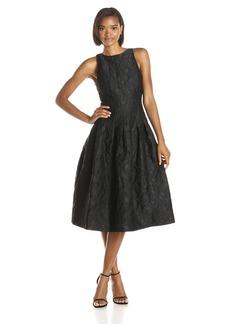 HALSTON HERITAGE Women's Jacquard Sleeveless Structured Midi Cocktail Dress