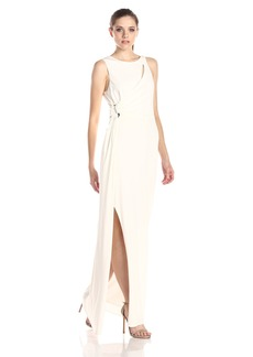 HALSTON HERITAGE Women's Jersey Sleeveless Draped Evening Gown