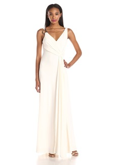 HALSTON HERITAGE Women's Jersey Sleeveless Draped Evening Gown with Back Cowl