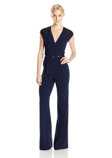 Halston Heritage Women's Jumpsuit With Embellished Cap Sleeve