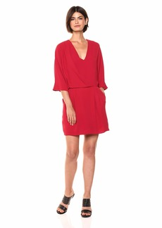 Halston Heritage Women's Kimono Sleeve Faux Wrap Dress