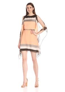 HALSTON HERITAGE Women's Kimono Slv Caftan Dress W Oval Ring Belt