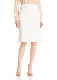 Halston Heritage Women's Knee Length Pencil Skirt with Turn Lock and Slit
