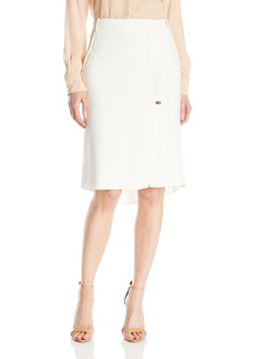 Halston Heritage Women's Knee Length Pencil Skirt with Turn Lock and Slit