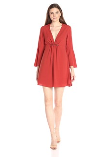 HALSTON HERITAGE Women's Long Bell Sleeve Deep V-Neck Dress with Shirring and Beads