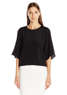 Halston Heritage Women's Long Flowy Sleeve Round Necktop with Chain Embellishment