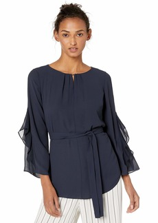 Halston Heritage Women's Long Flowy Sleeves top with sash  L