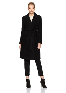 HALSTON HERITAGE Women's Long Sleeve Boiled Wool Maxi Coat  L