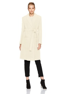 Halston Heritage Women's Long Sleeve Boiled Wool Maxi Coat  M