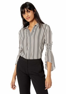 Halston Heritage Women's Long Sleeve Button Down Printed Shirt w Smocking Buff/Black Variegated Stripe S