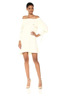 HALSTON HERITAGE Women's Long Sleeve Cold Shoulder Dress with Flounce Detail