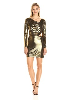 Halston Heritage Women's Long Sleeve Cowl Neck Metallic Jersey Dress with Cut Out