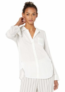 Halston Heritage Women's Long Sleeve Dobby Stripe Shirt