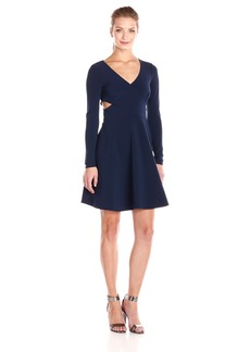 HALSTON HERITAGE Women's Long Sleeve Dress with Criss Cross and Cut Out Detail