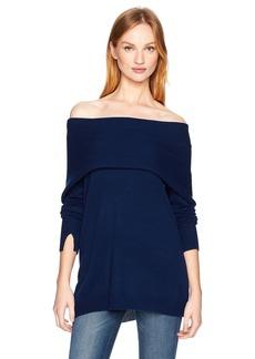 Halston Heritage Women's Long Sleeve Foldover Off Shoulder Sweater  XS