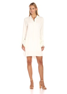 HALSTON HERITAGE Women's Long Sleeve Hi-Low Shirtdress