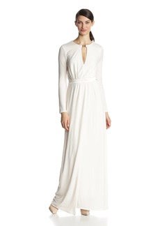 HALSTON HERITAGE Women's Long Sleeve Jersey Evening Gown with Slit Front