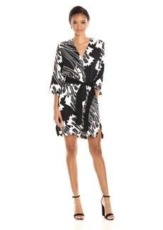 HALSTON HERITAGE Women's Long Sleeve Kimono Dress with Sash  XL