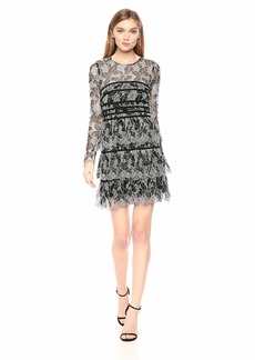 Halston Heritage Women's Long-Sleeve Lace Dress with Strapping Detail