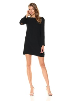HALSTON HERITAGE Women's Long Sleeve Metallic Insert Cowl Neck Crepe Dress Black Fog