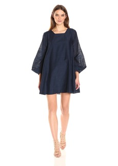 HALSTON HERITAGE Women's Long Sleeve Mini a-Line Dress with Cuff Detail  XS