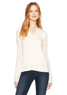 Halston Heritage Women's Long Sleeve Notch Neck Top  XS