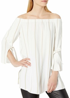 Halston Heritage Women's Long Sleeve Off Shoulder Boat Neck Top and Wide Cuff  M