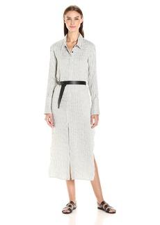 HALSTON HERITAGE Women's Long Sleeve Pinstripe Maxi Shirt Dress