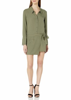 Halston Heritage Women's Long Sleeve Romper with Faux Wrap